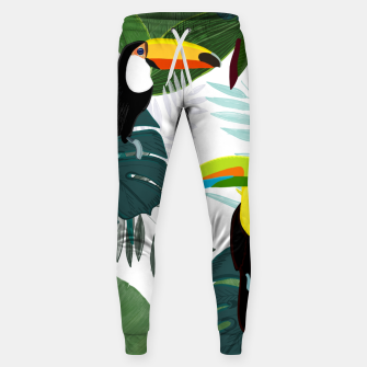 Thumbnail image of Taucan and bird of paradise flowers Tropical Forest colorful summer pattern Sweatpants, Live Heroes