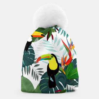 Thumbnail image of Taucan and bird of paradise flowers Tropical Forest colorful summer pattern Beanie, Live Heroes