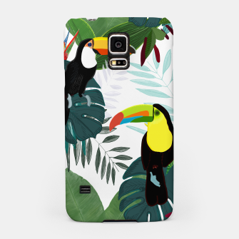 Thumbnail image of Taucan and bird of paradise flowers Tropical Forest colorful summer pattern Samsung Case, Live Heroes