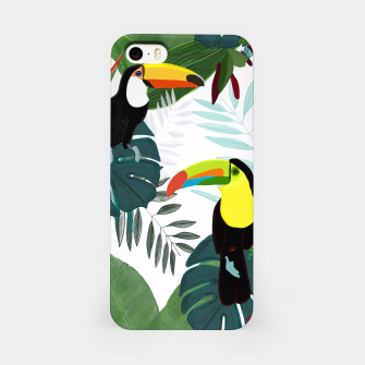 Thumbnail image of Taucan and bird of paradise flowers Tropical Forest colorful summer pattern iPhone Case, Live Heroes