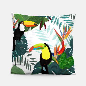 Thumbnail image of Taucan and bird of paradise flowers Tropical Forest colorful summer pattern Pillow, Live Heroes