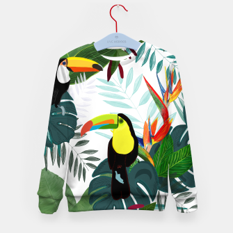 Thumbnail image of Taucan and bird of paradise flowers Tropical Forest colorful summer pattern Kid's sweater, Live Heroes