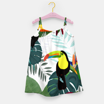 Thumbnail image of Taucan and bird of paradise flowers Tropical Forest colorful summer pattern Girl's dress, Live Heroes