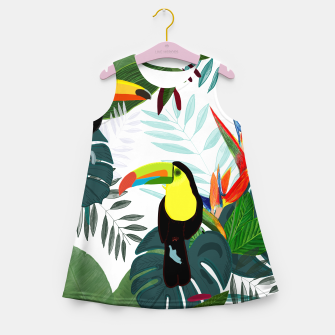 Thumbnail image of Taucan and bird of paradise flowers Tropical Forest colorful summer pattern Girl's summer dress, Live Heroes