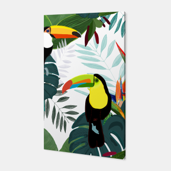 Thumbnail image of Taucan and bird of paradise flowers Tropical Forest colorful summer pattern Canvas, Live Heroes