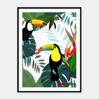 Thumbnail image of Taucan and bird of paradise flowers Tropical Forest colorful summer pattern Framed poster, Live Heroes