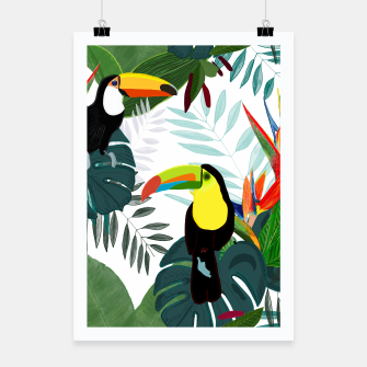 Thumbnail image of Taucan and bird of paradise flowers Tropical Forest colorful summer pattern Poster, Live Heroes