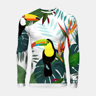 Thumbnail image of Taucan and bird of paradise flowers Tropical Forest colorful summer pattern Longsleeve rashguard , Live Heroes
