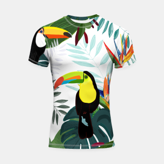 Thumbnail image of Taucan and bird of paradise flowers Tropical Forest colorful summer pattern Shortsleeve rashguard, Live Heroes