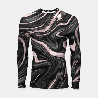 Thumbnail image of Black Gray White Rose Gold Marble #1 #decor #art  Longsleeve rashguard, Live Heroes