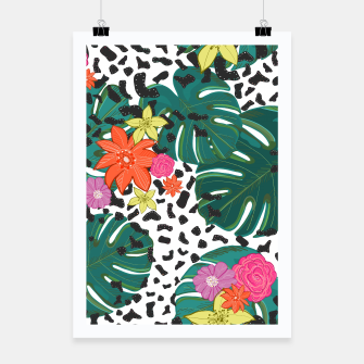 Miniatur Shining leopard detailed flower Poster, Live Heroes