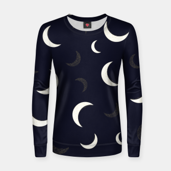 Thumbnail image of Shining golden and white colored moon night life pattern Women sweater, Live Heroes