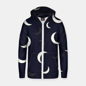 Thumbnail image of Shining golden and white colored moon night life pattern Zip up hoodie, Live Heroes