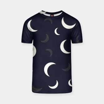 Thumbnail image of Shining golden and white colored moon night life pattern T-shirt, Live Heroes