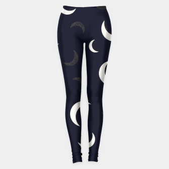 Thumbnail image of Shining golden and white colored moon night life pattern Leggings, Live Heroes