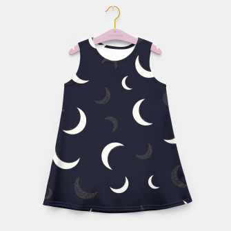 Thumbnail image of Shining golden and white colored moon night life pattern Girl's summer dress, Live Heroes