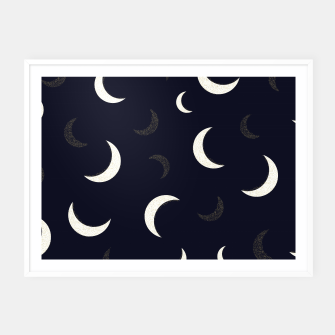 Thumbnail image of Shining golden and white colored moon night life pattern Framed poster, Live Heroes