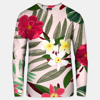 Thumbnail image of Seamless pattern for textile design. Red tropical flowers Unisex sweater, Live Heroes