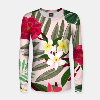 Thumbnail image of Seamless pattern for textile design. Red tropical flowers Women sweater, Live Heroes