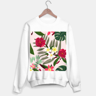 Thumbnail image of Seamless pattern for textile design. Red tropical flowers Sweater regular, Live Heroes