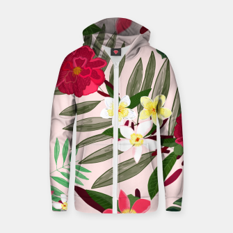 Thumbnail image of Seamless pattern for textile design. Red tropical flowers Zip up hoodie, Live Heroes