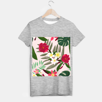 Thumbnail image of Seamless pattern for textile design. Red tropical flowers T-shirt regular, Live Heroes