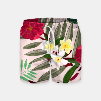 Thumbnail image of Seamless pattern for textile design. Red tropical flowers Swim Shorts, Live Heroes