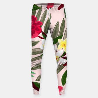 Thumbnail image of Seamless pattern for textile design. Red tropical flowers Sweatpants, Live Heroes