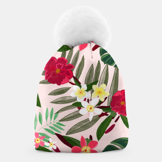 Thumbnail image of Seamless pattern for textile design. Red tropical flowers Beanie, Live Heroes