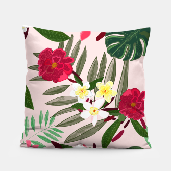 Thumbnail image of Seamless pattern for textile design. Red tropical flowers Pillow, Live Heroes