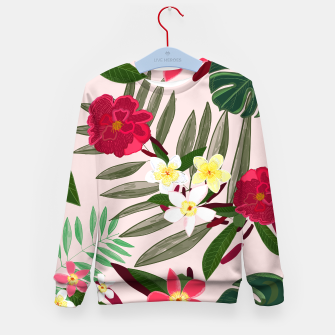 Thumbnail image of Seamless pattern for textile design. Red tropical flowers Kid's sweater, Live Heroes