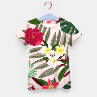 Thumbnail image of Seamless pattern for textile design. Red tropical flowers Kid's t-shirt, Live Heroes