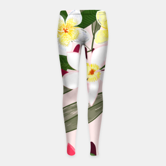 Thumbnail image of Seamless pattern for textile design. Red tropical flowers Girl's leggings, Live Heroes