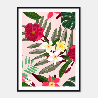 Thumbnail image of Seamless pattern for textile design. Red tropical flowers Framed poster, Live Heroes