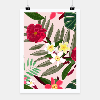 Thumbnail image of Seamless pattern for textile design. Red tropical flowers Poster, Live Heroes