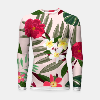 Thumbnail image of Seamless pattern for textile design. Red tropical flowers Longsleeve rashguard , Live Heroes