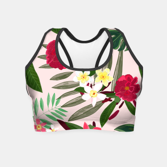 Thumbnail image of Seamless pattern for textile design. Red tropical flowers Crop Top, Live Heroes
