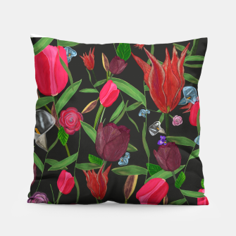 Miniaturka Red, pink and claret red colored tulips with roses and lilly elegant pattern Pillow, Live Heroes