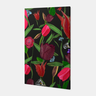 Miniaturka Red, pink and claret red colored tulips with roses and lilly elegant pattern Canvas, Live Heroes