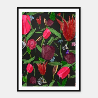 Miniaturka Red, pink and claret red colored tulips with roses and lilly elegant pattern Framed poster, Live Heroes