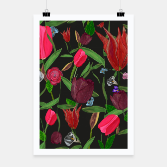 Miniaturka Red, pink and claret red colored tulips with roses and lilly elegant pattern Poster, Live Heroes