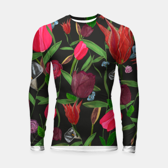 Miniaturka Red, pink and claret red colored tulips with roses and lilly elegant pattern Longsleeve rashguard , Live Heroes