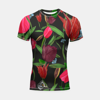Miniaturka Red, pink and claret red colored tulips with roses and lilly elegant pattern Shortsleeve rashguard, Live Heroes
