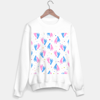 Thumbnail image of Pink and blue colored baby foot prints with confetti and balloons pattern Sweater regular, Live Heroes