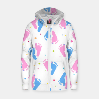 Thumbnail image of Pink and blue colored baby foot prints with confetti and balloons pattern Zip up hoodie, Live Heroes