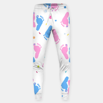 Thumbnail image of Pink and blue colored baby foot prints with confetti and balloons pattern Sweatpants, Live Heroes