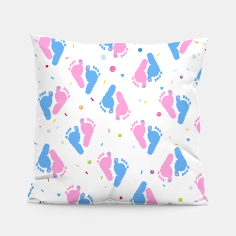 Thumbnail image of Pink and blue colored baby foot prints with confetti and balloons pattern Pillow, Live Heroes