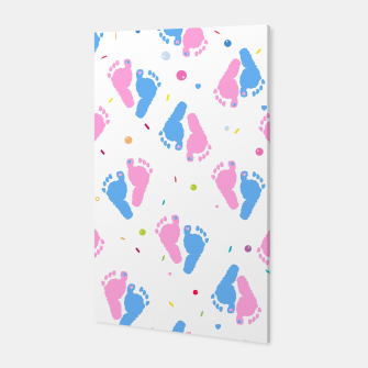 Thumbnail image of Pink and blue colored baby foot prints with confetti and balloons pattern Canvas, Live Heroes