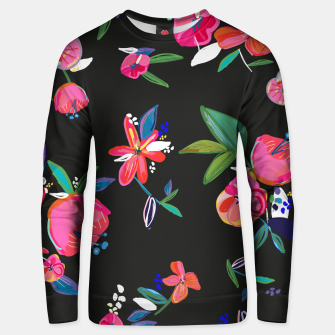 Thumbnail image of Pretty Hand Drawn Bloom Floral Black Background Pattern Unisex sweater, Live Heroes