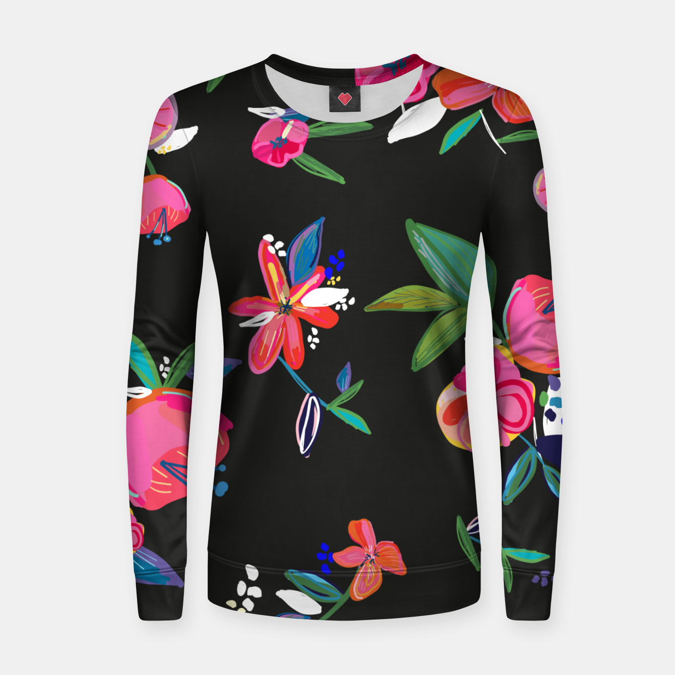 Image of Pretty Hand Drawn Bloom Floral Black Background Pattern Women sweater - Live Heroes